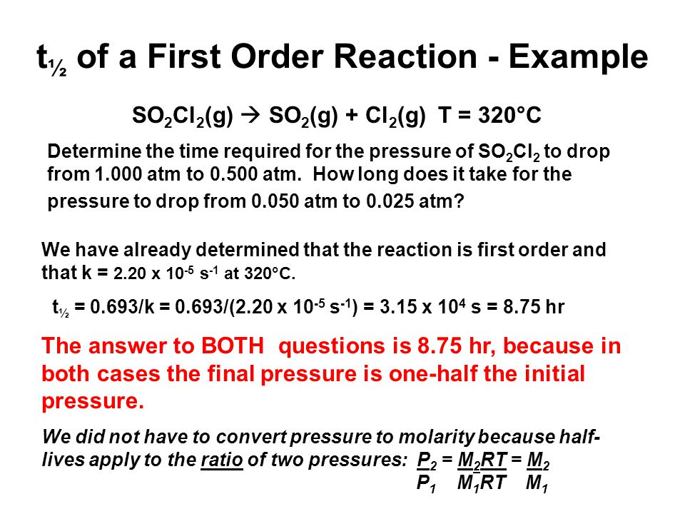 t½ of a First Order Reaction - Example