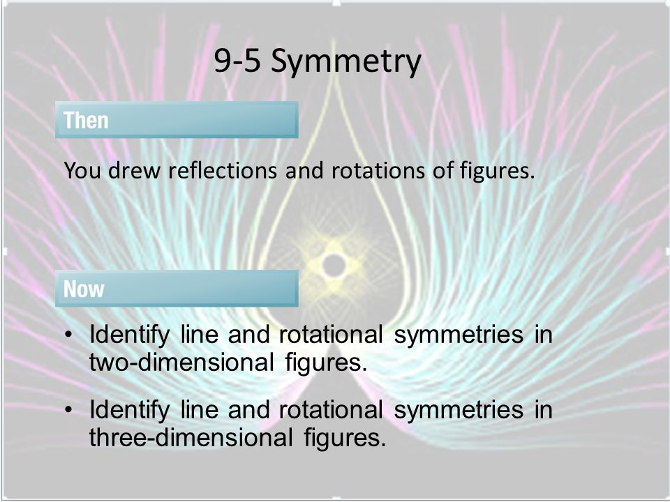 9-5 Symmetry You drew reflections and rotations of figures.