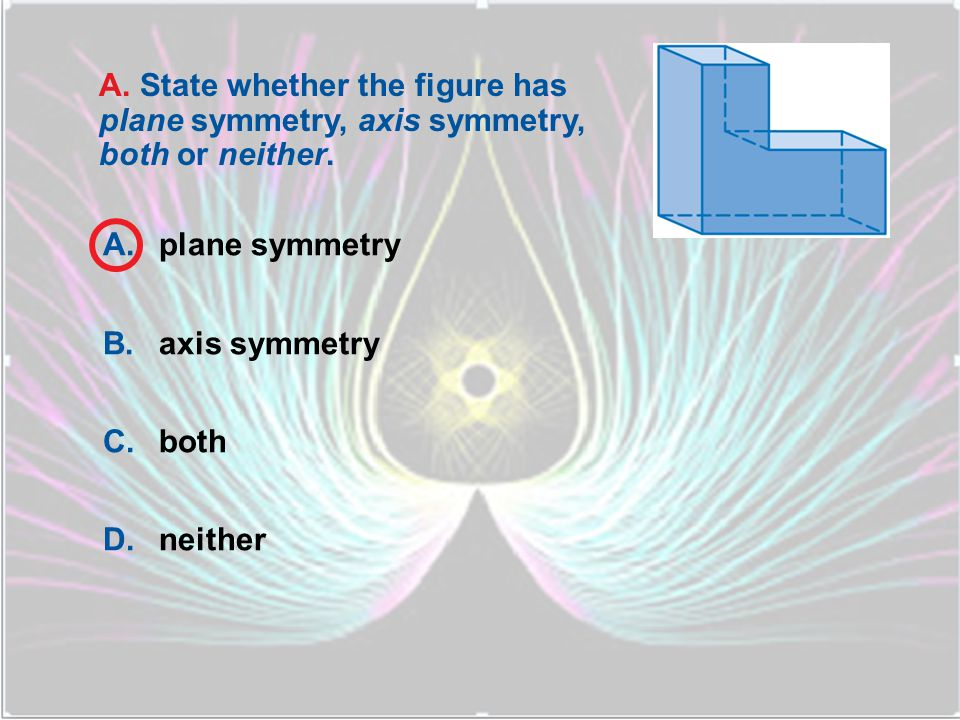 A. State whether the figure has plane symmetry, axis symmetry, both or neither.