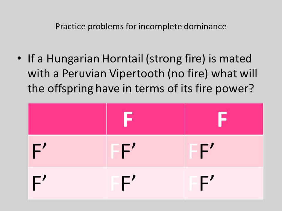 Practice problems for incomplete dominance