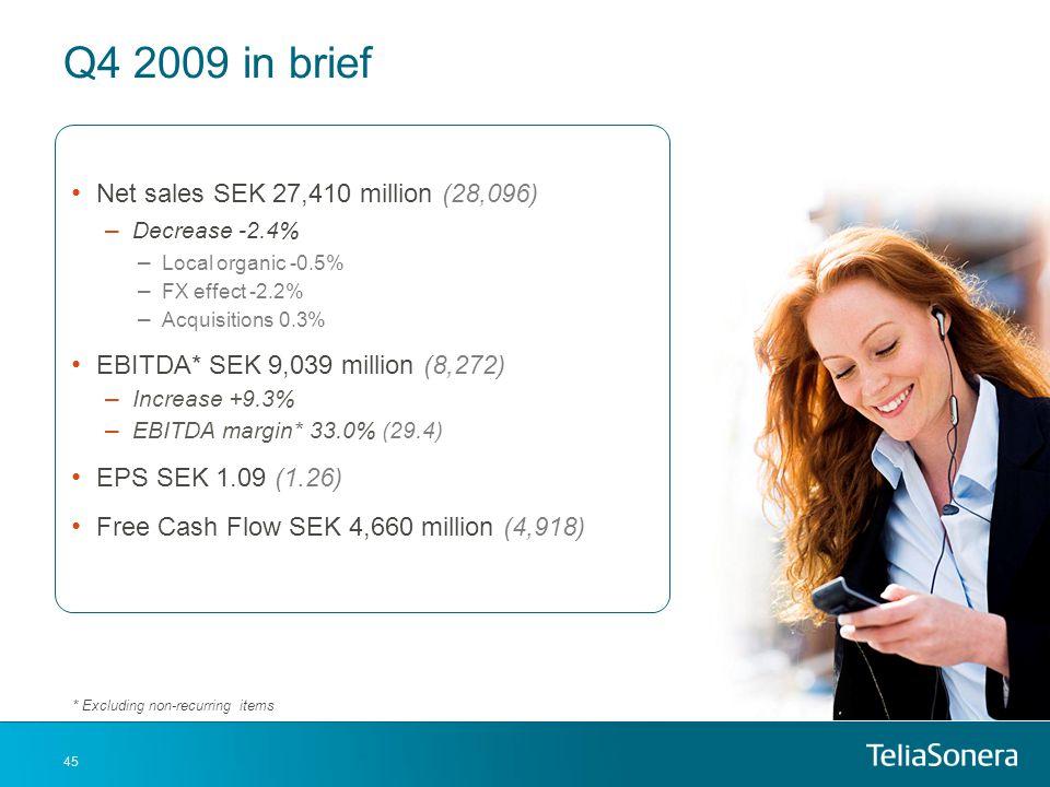 Q4 2009 in brief Net sales SEK 27,410 million (28,096)