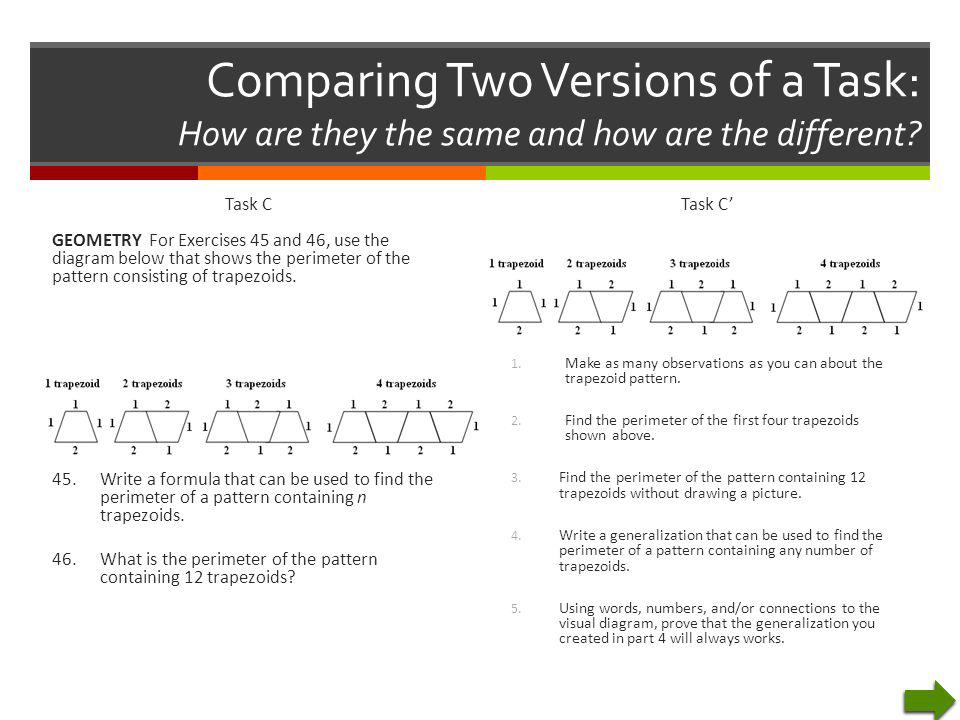 Comparing Two Versions of a Task: How are they the same and how are the different