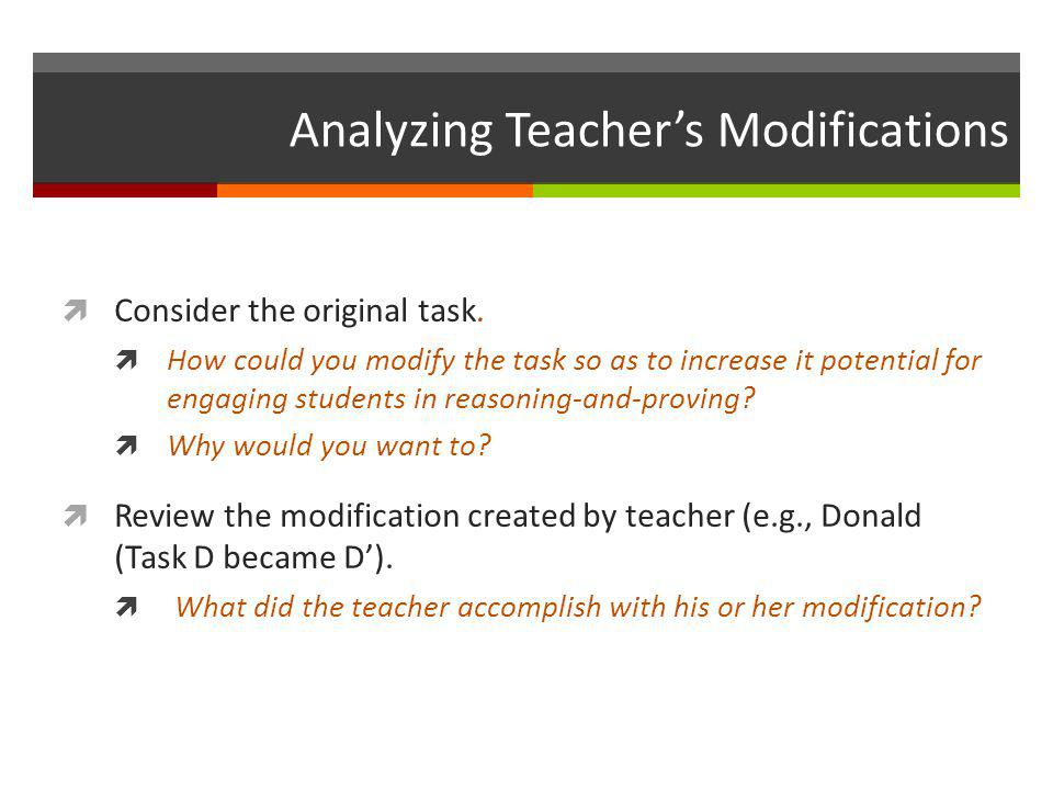 Analyzing Teacher's Modifications