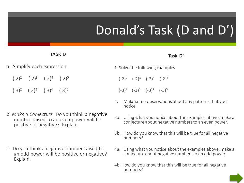 Donald's Task (D and D')
