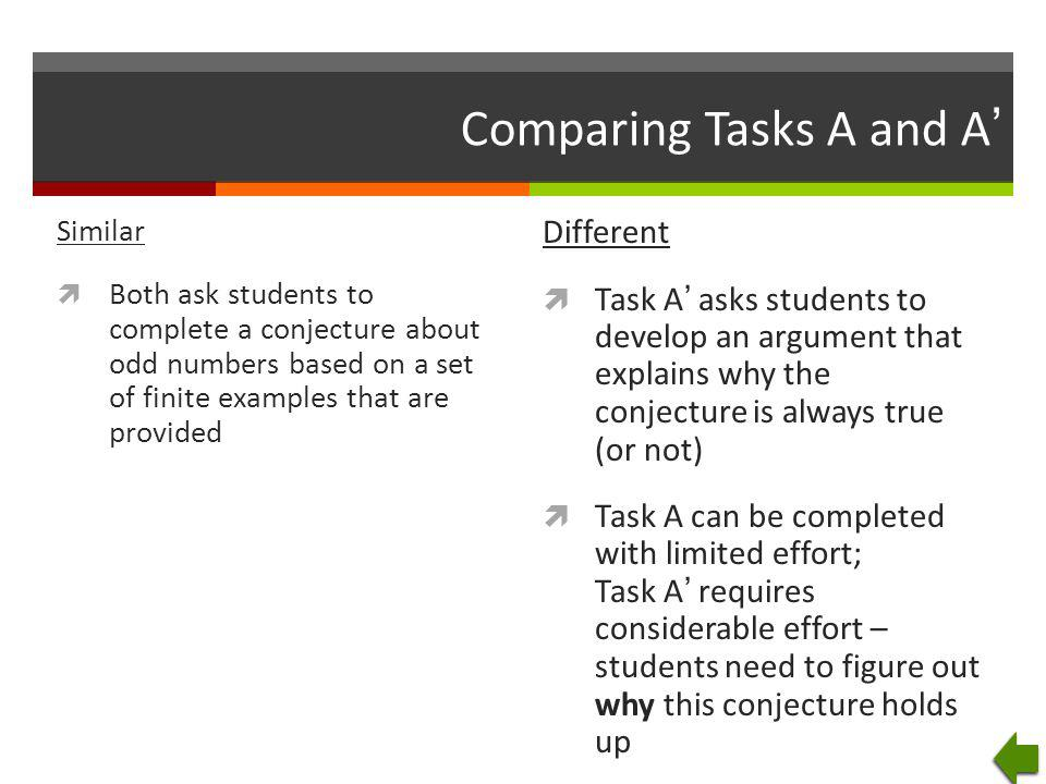 Comparing Tasks A and A'