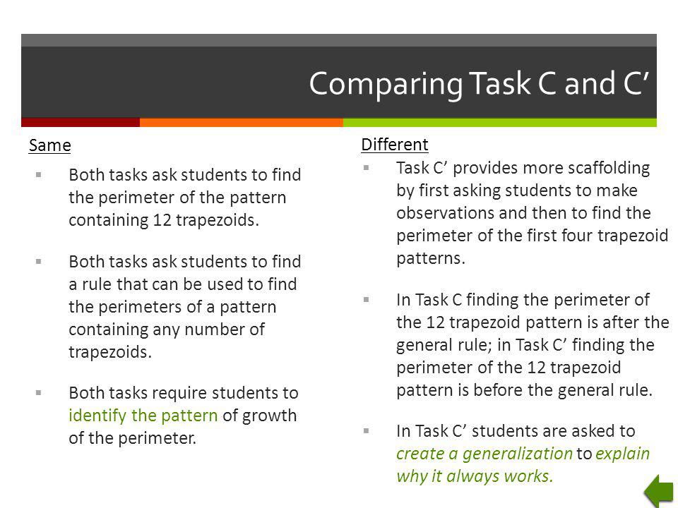 Comparing Task C and C' Same Different