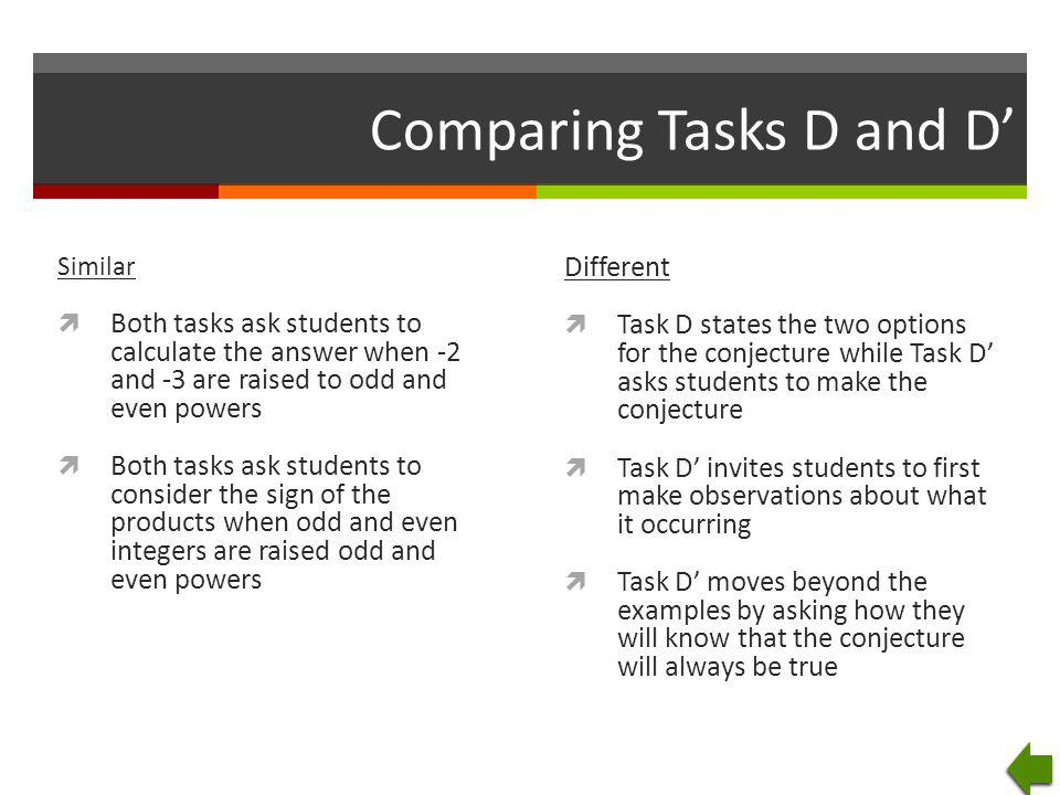 Comparing Tasks D and D'