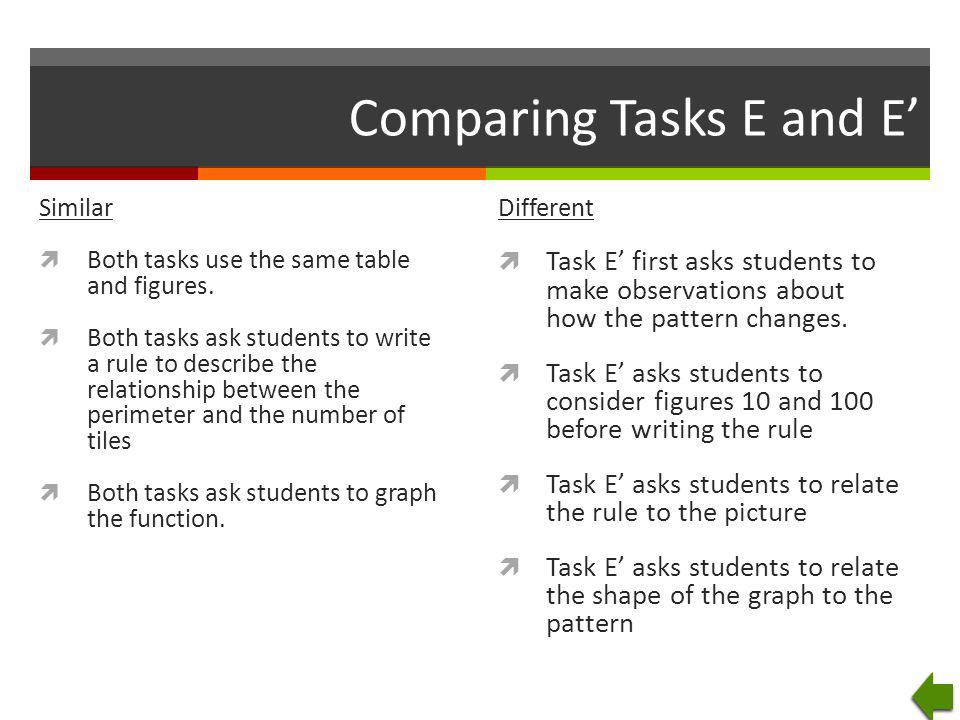 Comparing Tasks E and E'