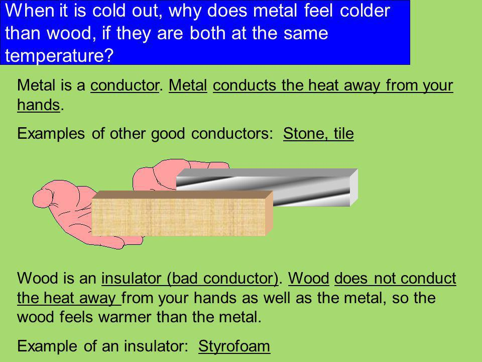 When it is cold out, why does metal feel colder than wood, if they are both at the same temperature