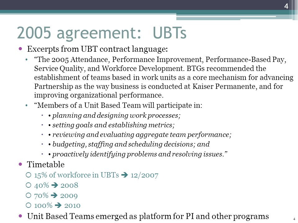 2005 agreement: UBTs Excerpts from UBT contract language: Timetable