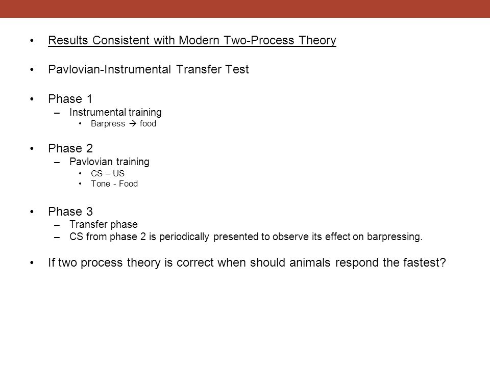 Results Consistent with Modern Two-Process Theory