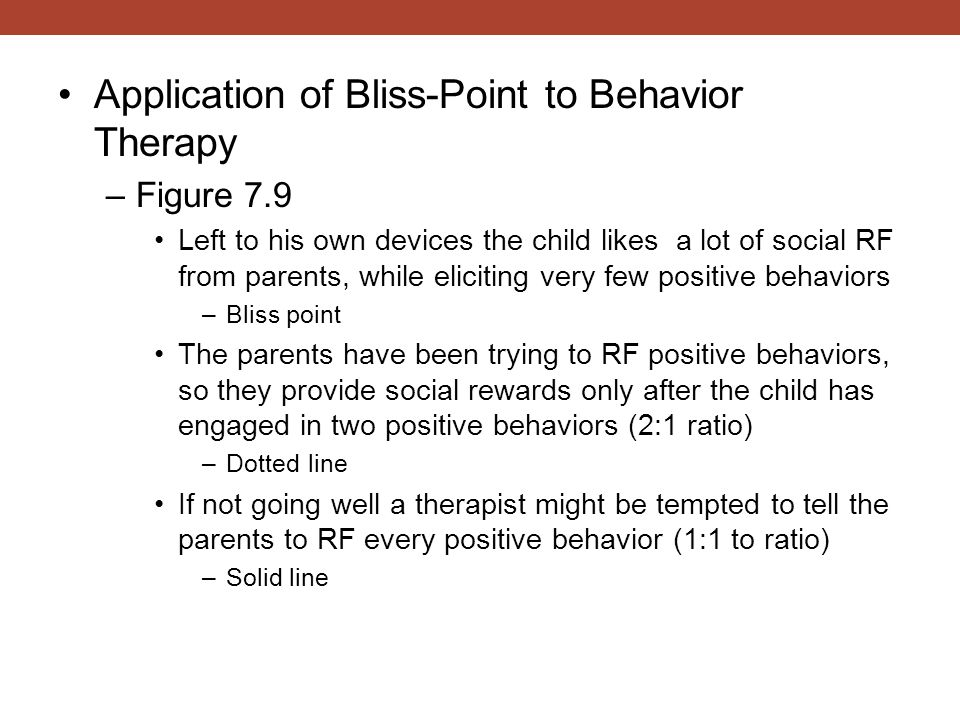 Application of Bliss-Point to Behavior Therapy