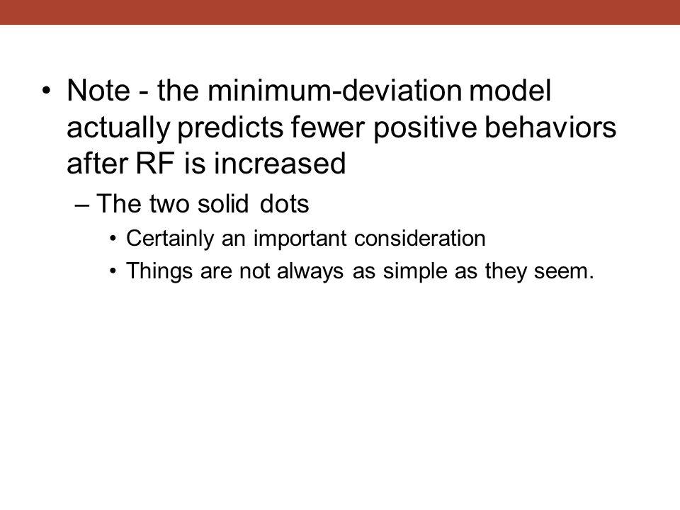 Note - the minimum-deviation model actually predicts fewer positive behaviors after RF is increased