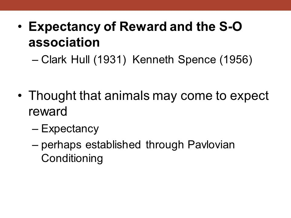 Expectancy of Reward and the S-O association