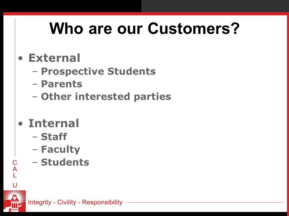 Who are our Customers External Internal Prospective Students Parents