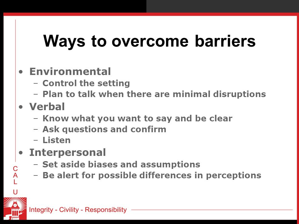 Ways to overcome barriers