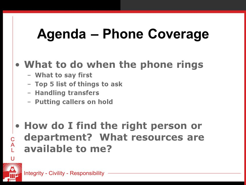 Agenda – Phone Coverage