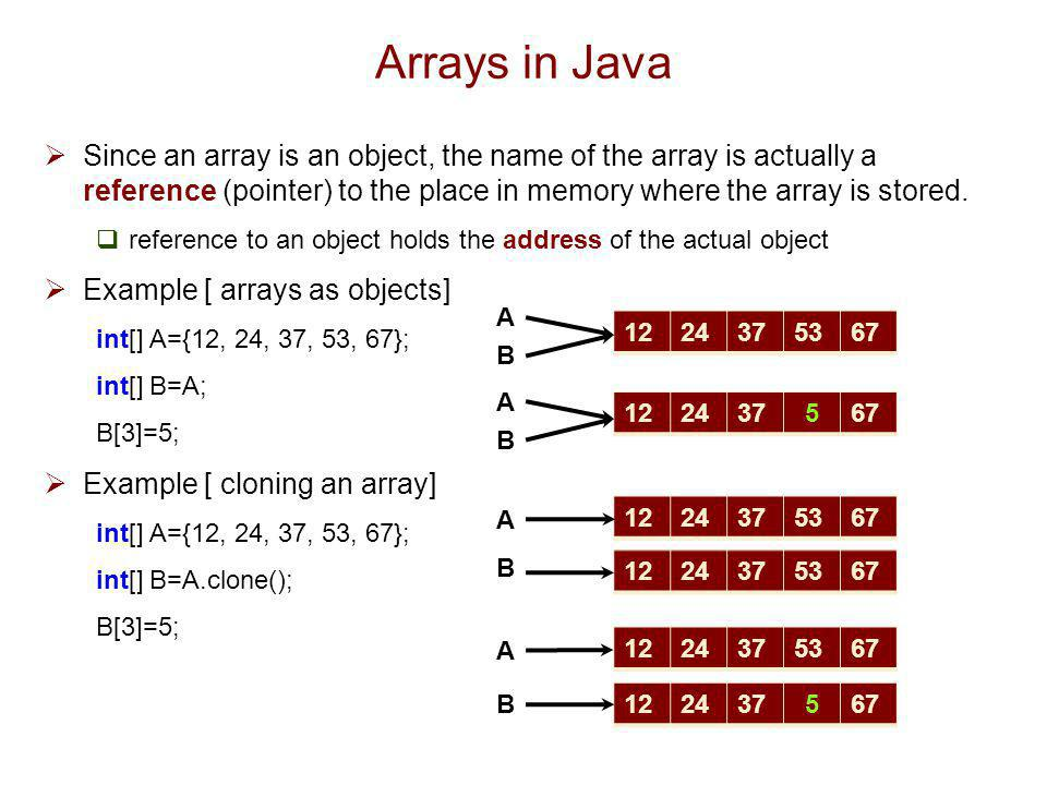 Arrays in Java Since an array is an object, the name of the array is actually a reference (pointer) to the place in memory where the array is stored.