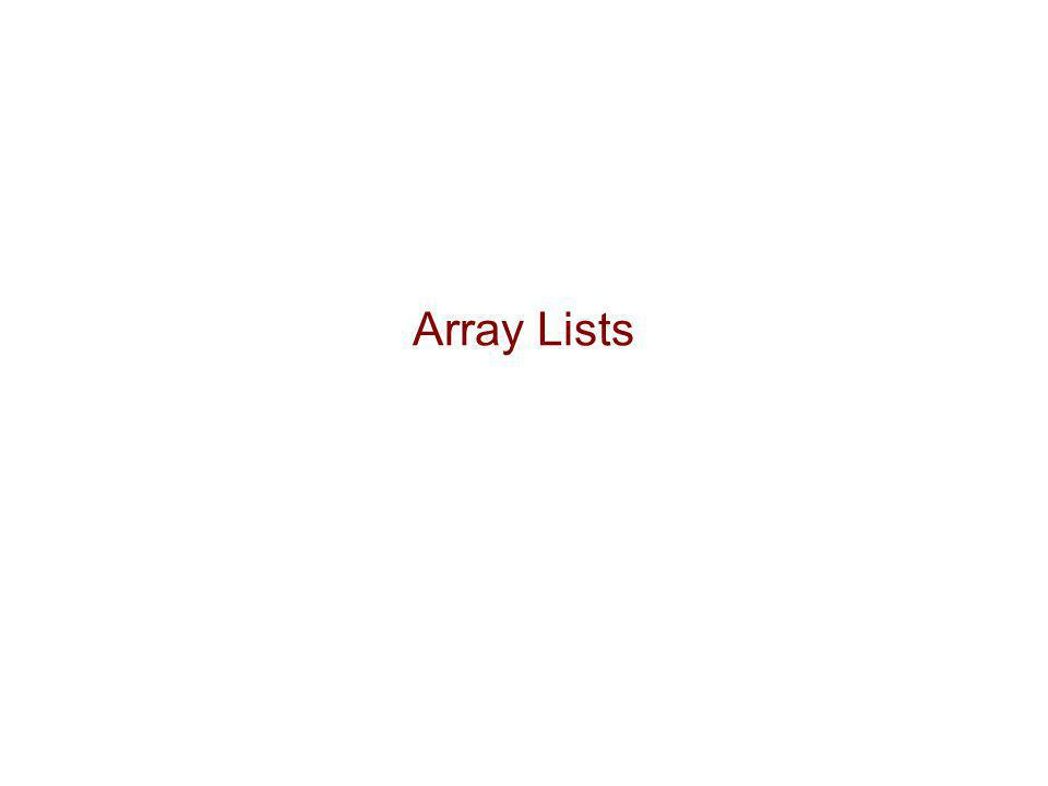 Vectors 4/8/2017 4:39 AM Array Lists
