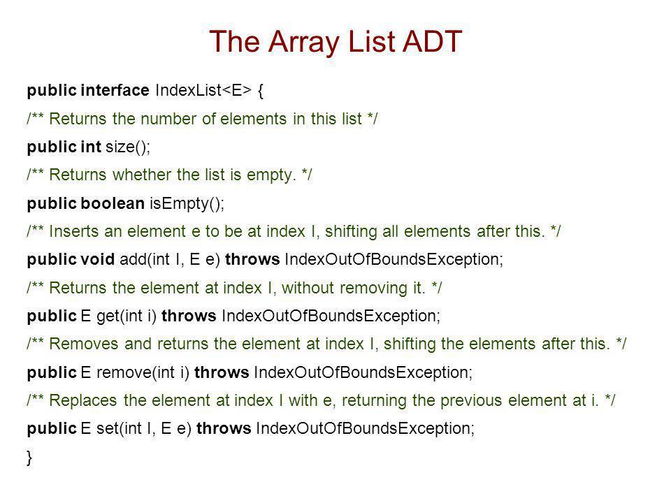 The Array List ADT