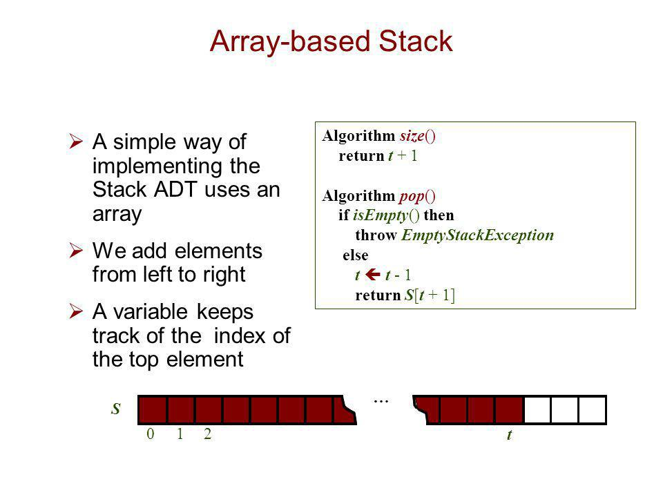 Array-based Stack Algorithm size() return t + 1. Algorithm pop() if isEmpty() then. throw EmptyStackException.