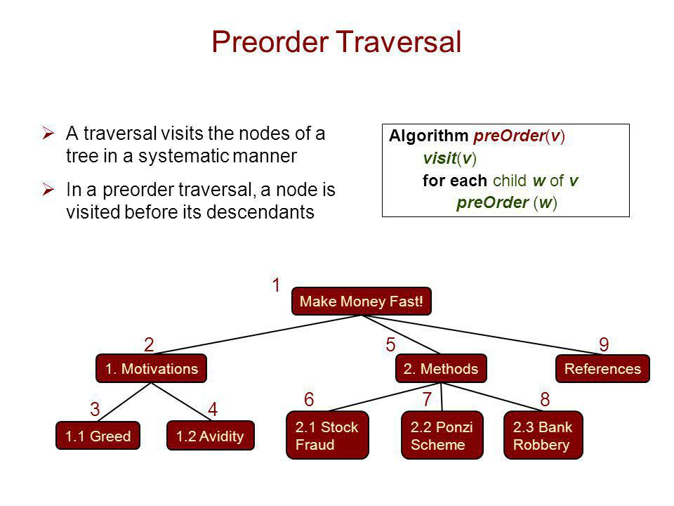 Preorder Traversal A traversal visits the nodes of a tree in a systematic manner. In a preorder traversal, a node is visited before its descendants.