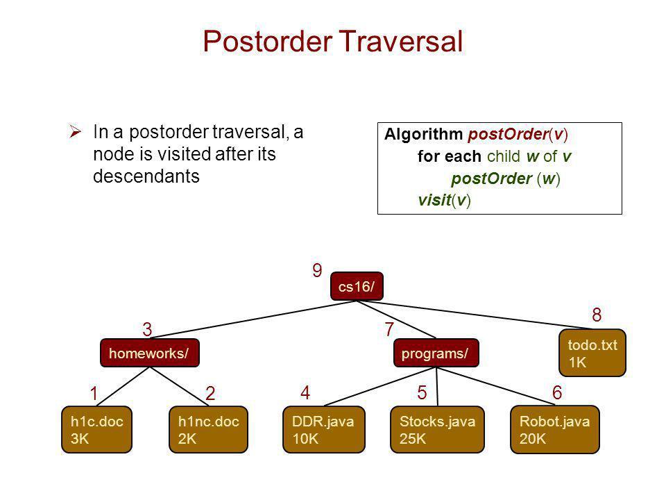 Postorder Traversal In a postorder traversal, a node is visited after its descendants. Algorithm postOrder(v)