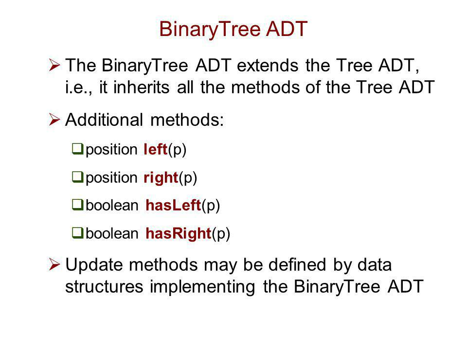 BinaryTree ADT The BinaryTree ADT extends the Tree ADT, i.e., it inherits all the methods of the Tree ADT.