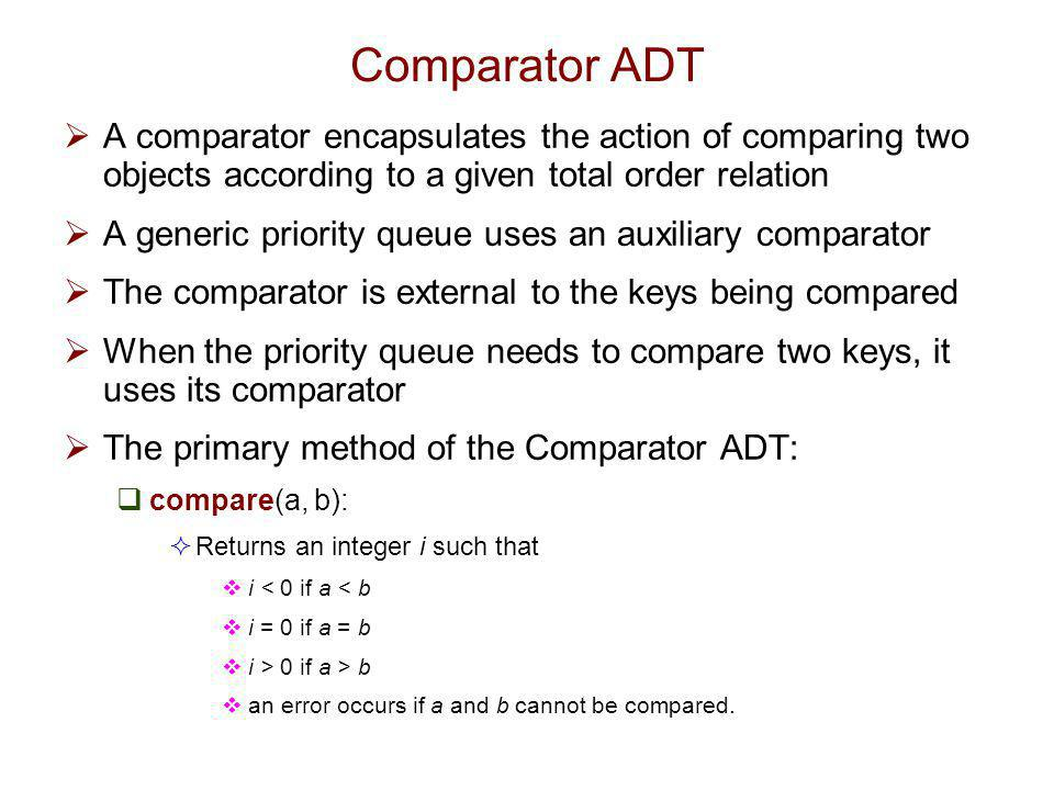 Comparator ADT A comparator encapsulates the action of comparing two objects according to a given total order relation.