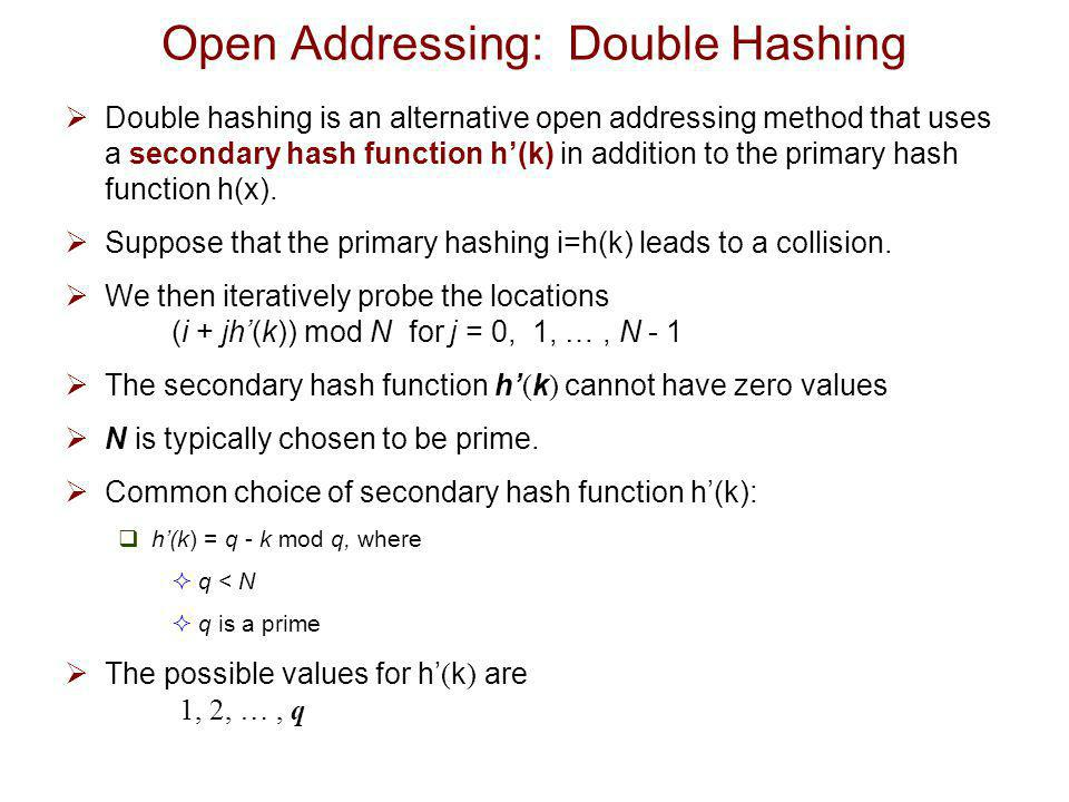 Open Addressing: Double Hashing