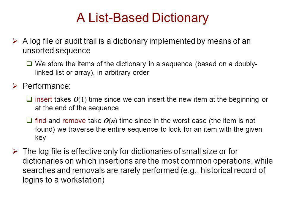 A List-Based Dictionary
