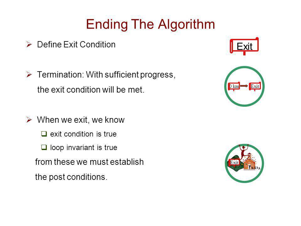 Exit Ending The Algorithm Define Exit Condition