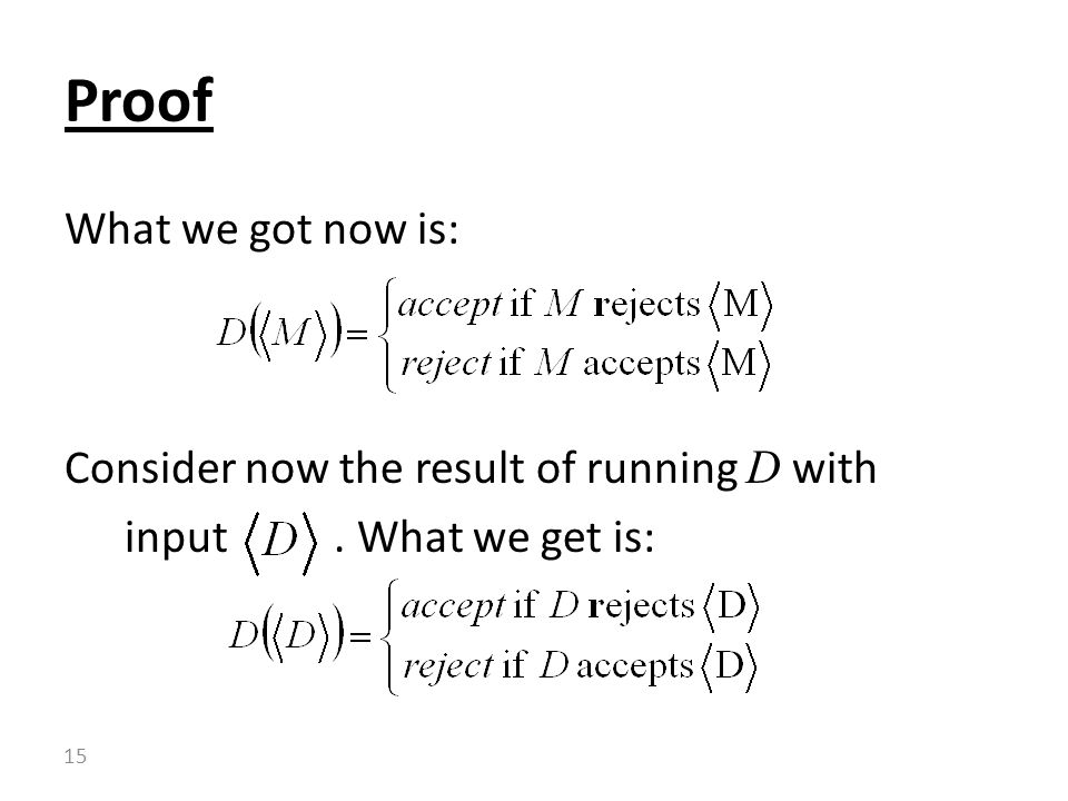 Proof What we got now is: Consider now the result of running D with input . What we get is: