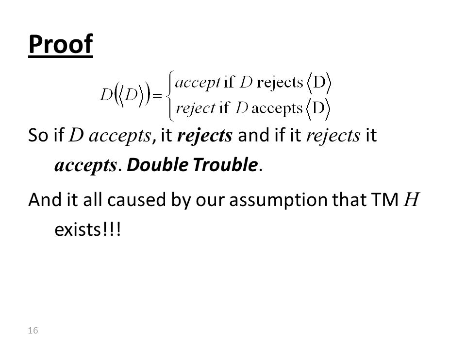 Proof So if D accepts, it rejects and if it rejects it accepts.