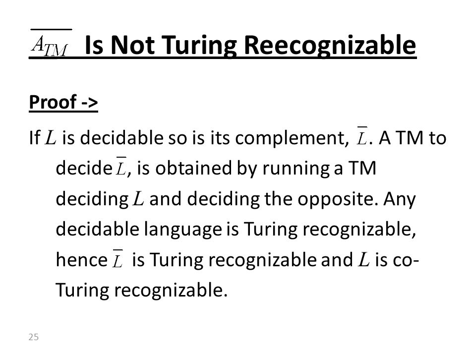 __ Is Not Turing Reecognizable