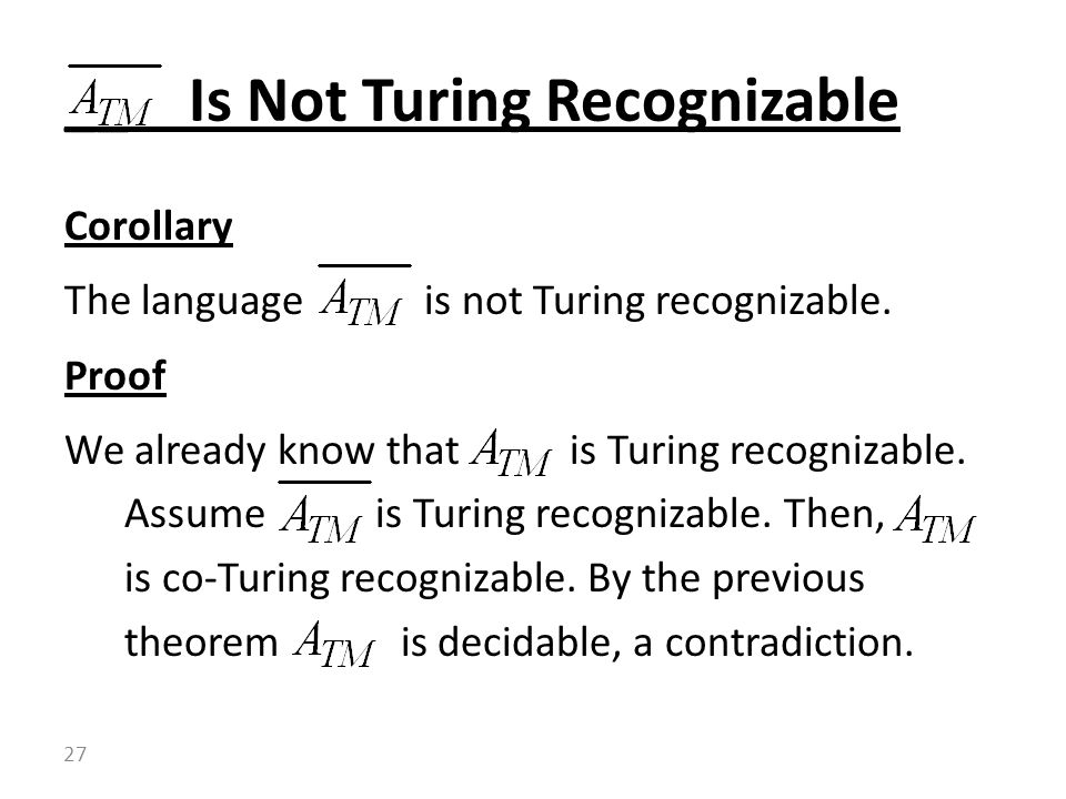 __ Is Not Turing Recognizable