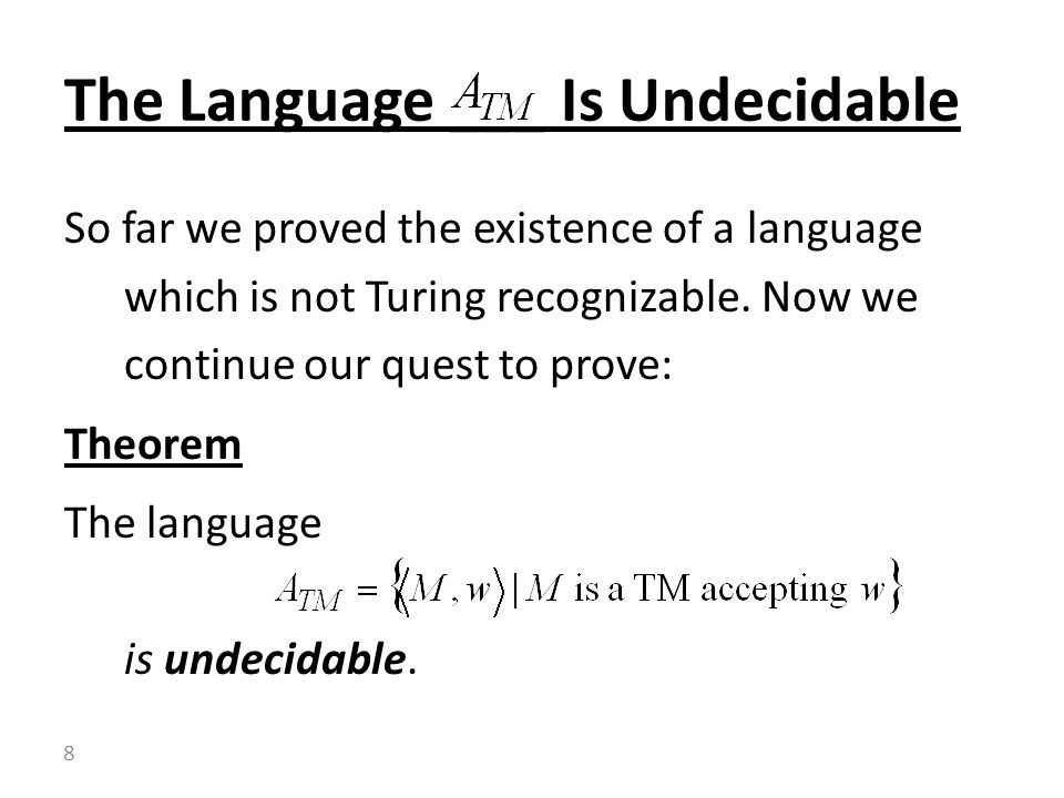 The Language ___ Is Undecidable