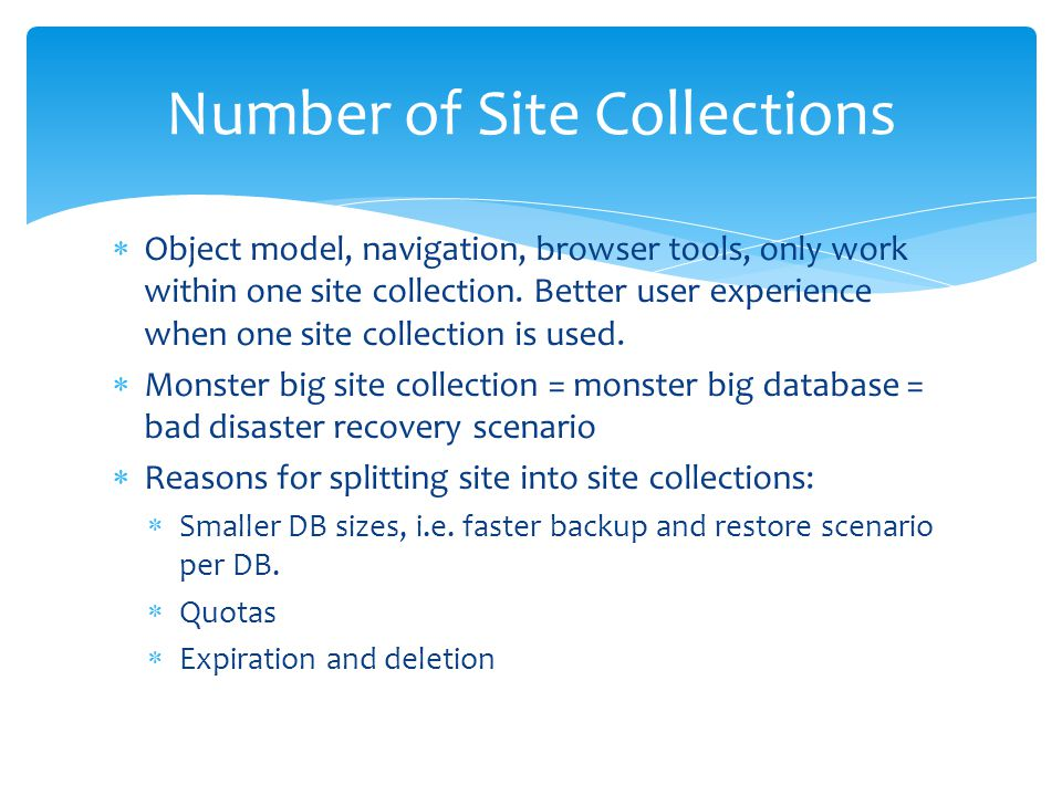 Number of Site Collections