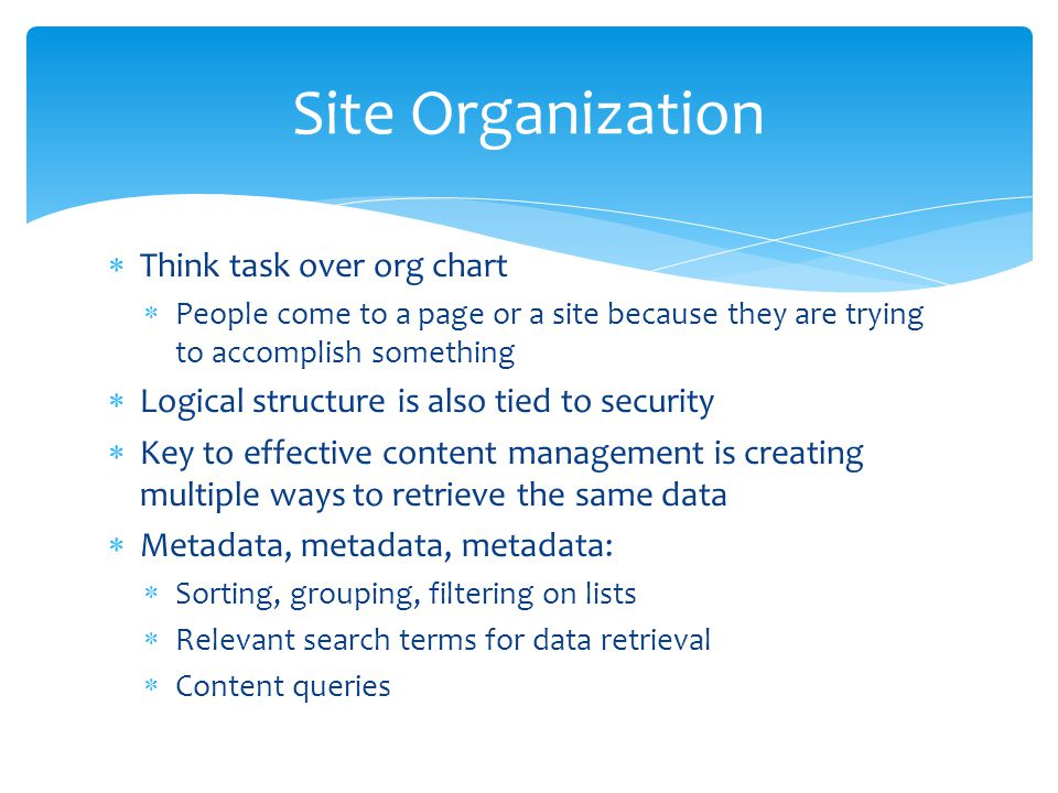 Site Organization Think task over org chart