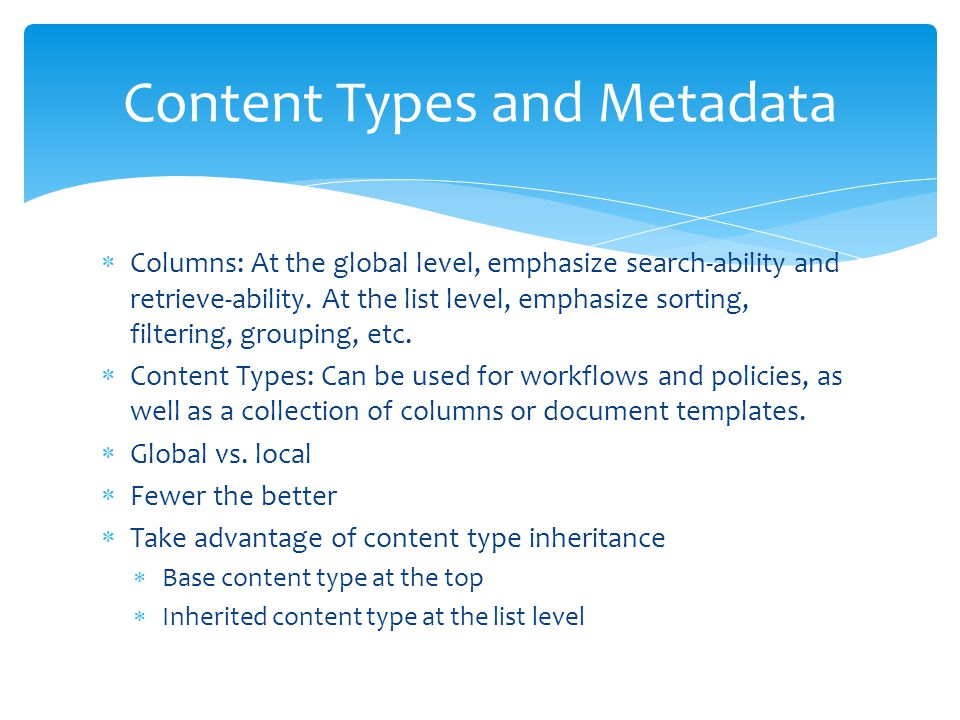 Content Types and Metadata