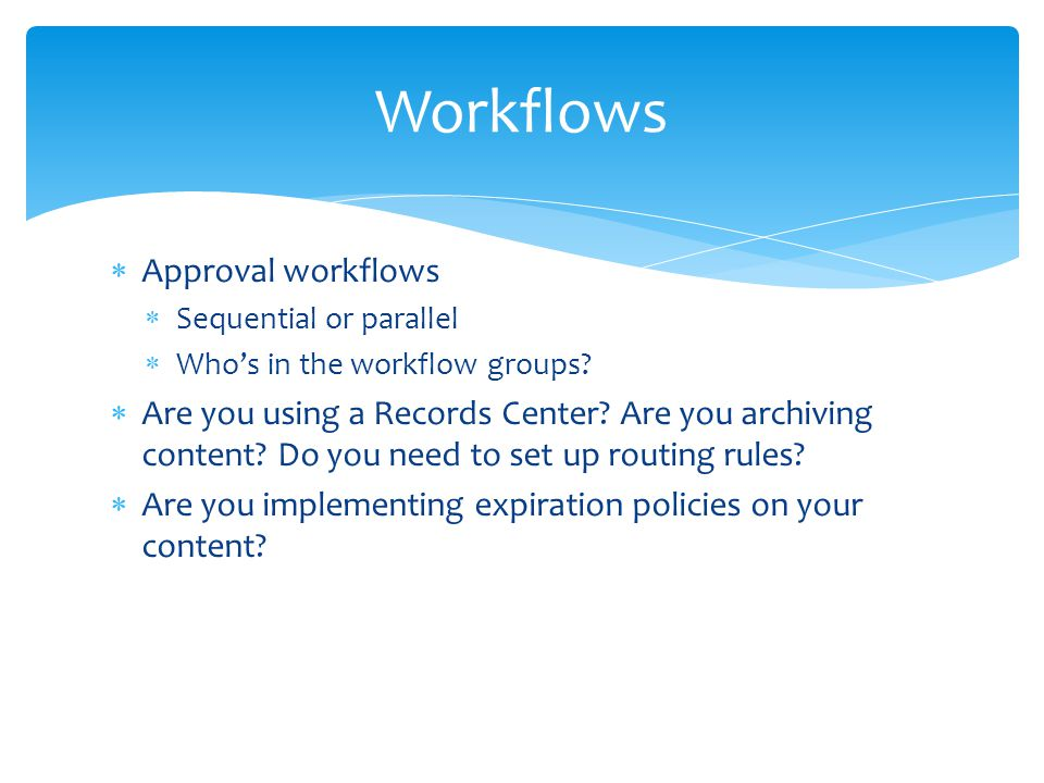 Workflows Approval workflows