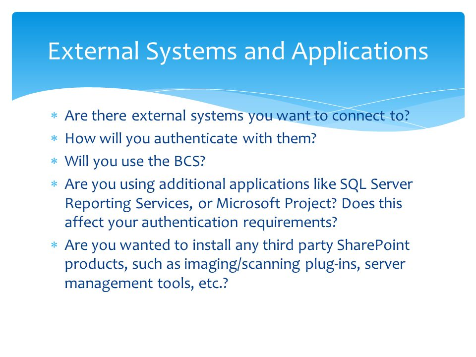External Systems and Applications