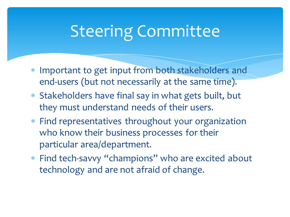 Steering Committee Important to get input from both stakeholders and end-users (but not necessarily at the same time).