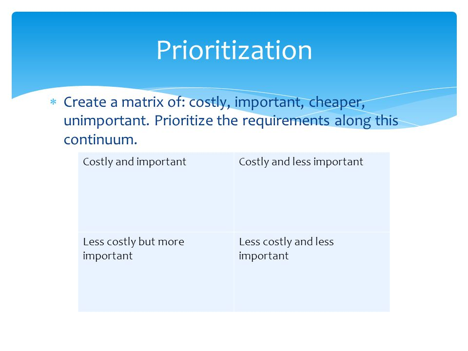 Prioritization Create a matrix of: costly, important, cheaper, unimportant. Prioritize the requirements along this continuum.