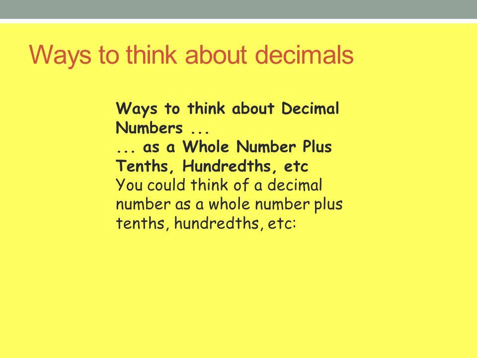 Ways to think about decimals