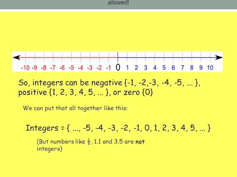 allowed! So, integers can be negative {-1, -2,-3, -4, -5, ... }, positive {1, 2, 3, 4, 5, ... }, or zero {0}