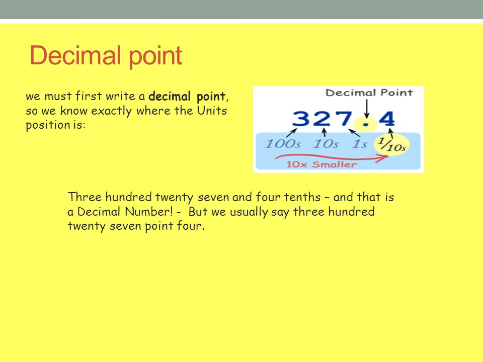 Decimal point we must first write a decimal point, so we know exactly where the Units position is: