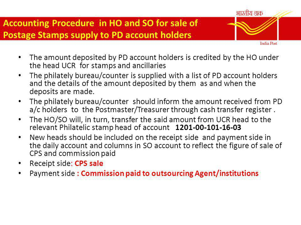 Accounting Procedure in HO and SO for sale of Postage Stamps supply to PD account holders