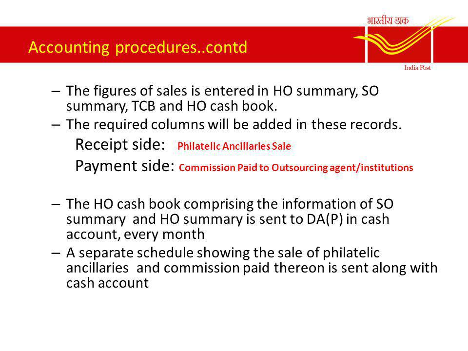 Accounting procedures..contd