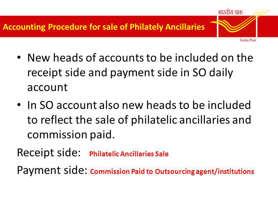Accounting Procedure for sale of Philately Ancillaries